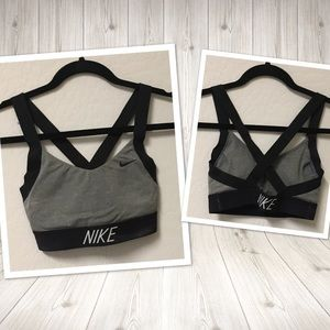 NIKE Dry fit sports workout bra gray black XS